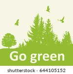 green background with firs and... | Shutterstock .eps vector #644105152