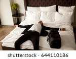 exhausted businessman resting... | Shutterstock . vector #644110186