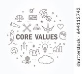 core values thin line icon set. ... | Shutterstock .eps vector #644112742