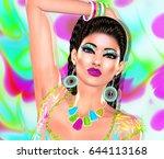 colorful pop art  unique 3d... | Shutterstock . vector #644113168