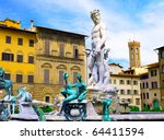 Fontana del Nettuno - Neptun fontain - near Palazzo Vecchio, Florence, Italy - stock photo