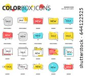 color box icons  speech bubble  ... | Shutterstock .eps vector #644122525