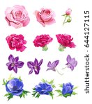 set of pink  red  purple  blue... | Shutterstock .eps vector #644127115