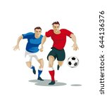 players are fighting for the... | Shutterstock .eps vector #644136376