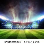 lights at night and stadium 3d... | Shutterstock . vector #644141146
