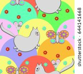seamless pattern with cartoon   ... | Shutterstock . vector #644141668