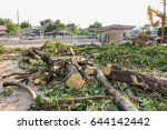 chopping wood in construction... | Shutterstock . vector #644142442