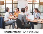 group of five casual business... | Shutterstock . vector #644146252