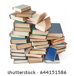 book pile isolated on white... | Shutterstock . vector #644151586