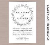 elegant leaves wreath wedding... | Shutterstock .eps vector #644155996