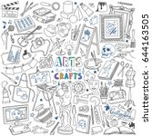 arts and crafts doodles set.... | Shutterstock .eps vector #644163505