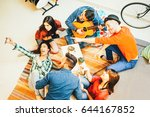 group of funny friends enjoying ... | Shutterstock . vector #644167852