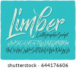 hand drawn calligraphic font... | Shutterstock .eps vector #644176606