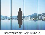 silhouette of man skilled... | Shutterstock . vector #644183236