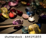 jewel or gems on black shine... | Shutterstock . vector #644191855