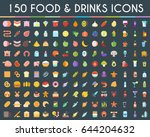 food and drinks big icons set.... | Shutterstock .eps vector #644204632