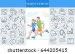 healthy lifestyle banner.... | Shutterstock .eps vector #644205415