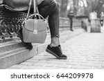 woman sitting on the street... | Shutterstock . vector #644209978