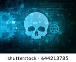 skull symbol on technology...   Shutterstock . vector #644213785