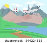 traveling by plane over... | Shutterstock .eps vector #644224816