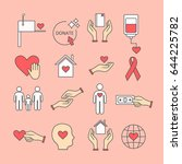 set of symbols of aid and... | Shutterstock .eps vector #644225782