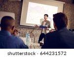 young businessman speak on... | Shutterstock . vector #644231572