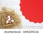chicken eggs  eggs in the nest | Shutterstock . vector #644234116