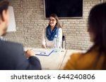 Small photo of Female on job interview in company