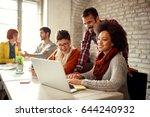 designers coworkers working... | Shutterstock . vector #644240932