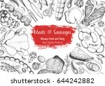 meats and sausages top view... | Shutterstock .eps vector #644242882