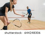 couple play squash game in... | Shutterstock . vector #644248306
