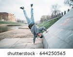 hip hop performer  upside down... | Shutterstock . vector #644250565