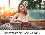 wonderful young asian woman... | Shutterstock . vector #644254042
