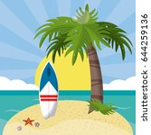 summer beach in the seashore... | Shutterstock .eps vector #644259136