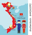 vietnam map and landmarks with... | Shutterstock .eps vector #644261092