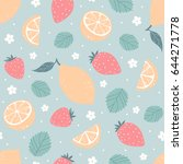 strawberry and lemon seamless... | Shutterstock .eps vector #644271778