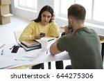 back view of male employee... | Shutterstock . vector #644275306