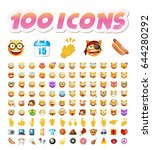 set of 100 cute icons on white... | Shutterstock .eps vector #644280292