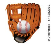 baseball glove with ball ... | Shutterstock .eps vector #644282092