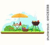bbq picnic in the garden with... | Shutterstock .eps vector #644283088