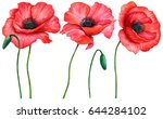 Stock photo watercolor set of poppies hand drawn illustration of red field flowers isolated on white 644284102