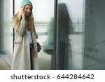 charming blonde hipster girl... | Shutterstock . vector #644284642