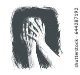 hand covered face of a person...   Shutterstock .eps vector #644287192