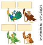 funny birds holding blank... | Shutterstock .eps vector #644288698
