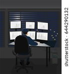 security room and working guard | Shutterstock .eps vector #644290132