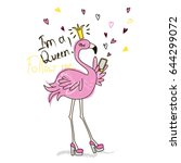 Funny Pink Flamingo With Phone...