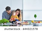 happy family preparing... | Shutterstock . vector #644321578