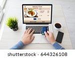 man hands holding credit card... | Shutterstock . vector #644326108