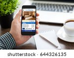 man holding phone with app...   Shutterstock . vector #644326135