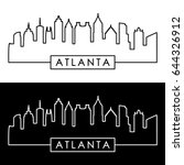 atlanta skyline. linear style.... | Shutterstock .eps vector #644326912